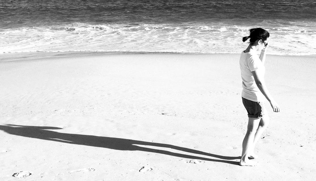 me walking on the beach