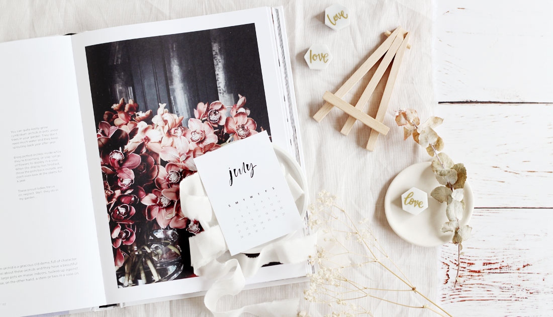 flatlay with floral book